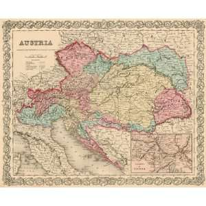 Colton 1855 Antique Map of Austria: Office Products