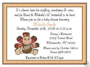 GINGHAM BABY TURKEY THANKSGIVING SHOWER INVITATIONS