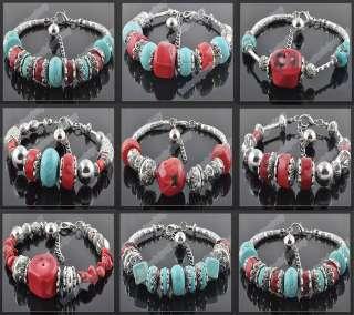 lots 12p Turquoise Cora Tibetan silver tone Bracelets A