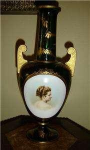 ANTIQUE Bohemian Moser Glass Portrait Vase W/Appraisal