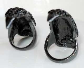 New black chunky claw paw black rhinestone finger tips nail ring R33