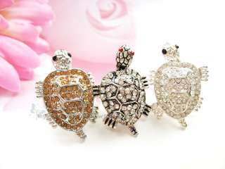 Adjustable Cute Rhinestone Crystal Turtle Ring Black/Silver/Gold S135