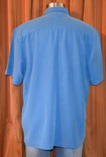 SLEEVE BLUE POLYNOSIC RAYON POLYESTER CASUAL SHIRT MENS XXL 2XL