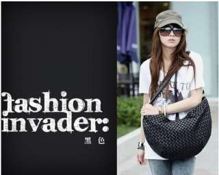 Women Lady fashion new PU Leather woven shoulder Messenger bag five