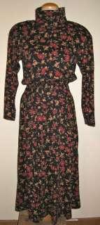 ADORABLE L.L. BEAN 100% COTTON FLORAL PRINT TURTLENECK DRESS, S