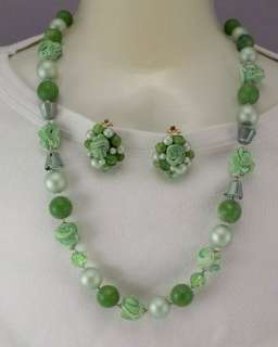 Vintage Bead Cluster Earring Necklace Set Mint Green Bubble Gum Bead