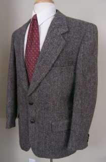 Harris Tweed Sport Coat Gray Gray Black Brown Herringbone Wool 40R