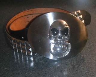 SILVER SKULL SHIELD buckle with Studded leather belt NEW