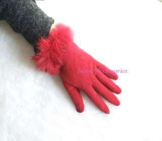 Ladies Girls Wool Winter Gloves Rabbit Fur Cuff