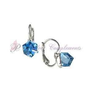 Classic Euro Aquamarine Square Prism Swarovski Crystal Earrings with