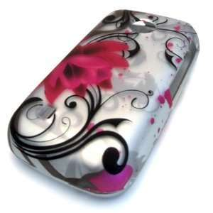 com Tracfone LG 505c Silver Pink Lotus Painting Flower HARD Case Skin