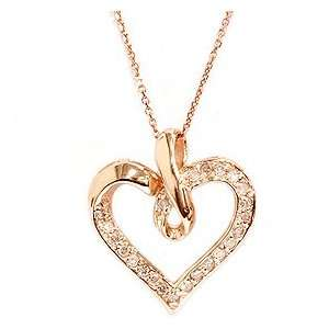 Pendant 14K Rose Pink Gold Womens Necklace 18 Chain & Box Jewelry