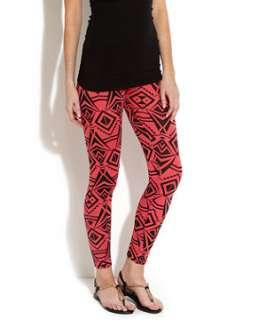 Coral (Orange) Pink and Black Spike Aztec Leggings  252172983  New