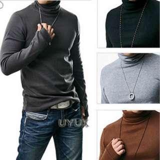 Mens Slim Handsome Long Sleeve High Neck Cotton T shirts Basic Tee