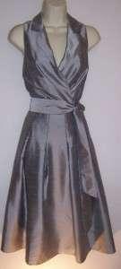 JONES WEAR NEW YORK Silver Gray Sleeveless V Neck Lined Cocktail Dress