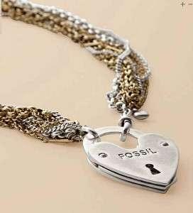 85 FOSSIL BRAND Multi Chain Heart Lock Pendant Necklace ~ NWT