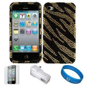 Gold Tiger Crystal Hard Case Cover with Rhinestone Adornment for Apple