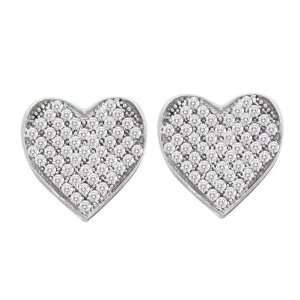 Gold 1/3 ct. Micro Pave Set Diamond Heart Earrings Katarina Jewelry