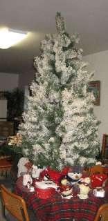Flocked Christmas Tree 6 1/2 ft AMERICAN TREE & WREATH White & Green