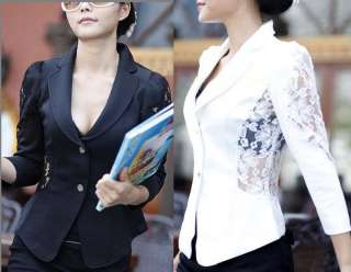 Korea Womens Hollow Lace Sleeve Armpit Casual Slim Suits OL Blazer