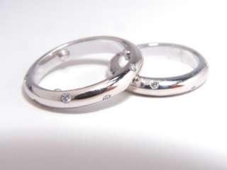 14K WHITE GOLD DIAMOND MATCHING WEDDING BAND RING SET