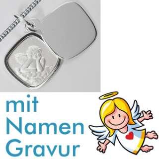 SCHUTZ ENGEL ANHÄNGER mit NAMEN GRAVUR & KETTE SILBER + Text Gott