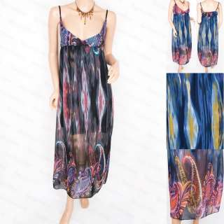 Free Ship Chiffon Sheer Floral Long Lined Maxi Dress