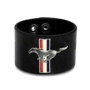 Ford Mustang Tri bar Logo Black Leather Cuff, Official