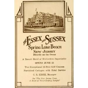 1923 Ad Essex Sussex Spring Lake Beach Resort Hotel NJ