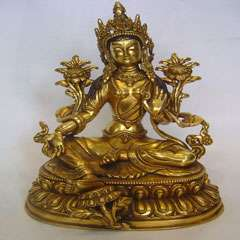 White Tara Bronze Statue Gilted Seated on Double Lotus 8 H