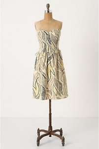 Anthropologie Stippled Deciduous Corset Dress Sz 0,14