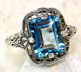 3ct Natural Aquamarine 925 Sterling Silver Victorian Style Filigree
