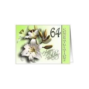 64th Happy Birthday Congratulations   White Lilies Card Toys & Games