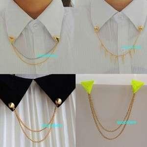 Collar Tips Pins Spike Gold Tone Metal Pyramid Brooch Stud Trendy