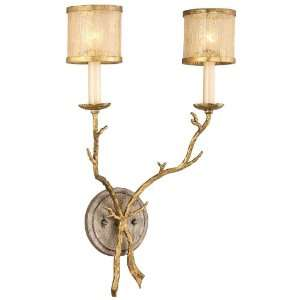Light 22 Gold and Silver Leaf Wall Sconce with Golden Ice Glass 66 12