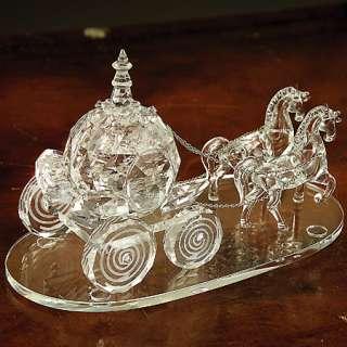 Godinger crystal cut Cinderella wedding coach ornament