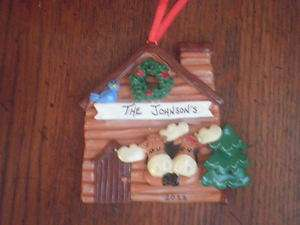 Personalized Moose Couple Cabin Christmas Ornament