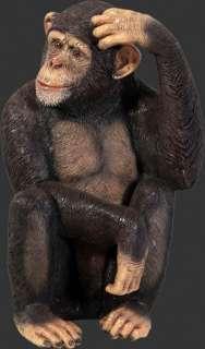 CHIMPANZEE LIFE SIZE ANIMAL STATUE APE MONKEY REALISTIC