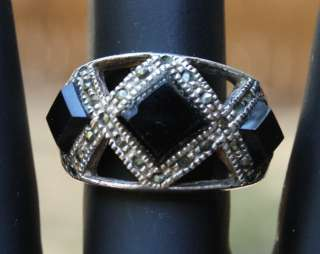Vintage 925 Sterling Silver Marcasite Black Glass Ring Size 6