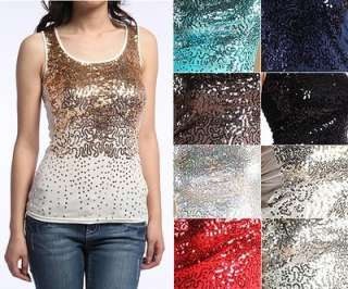 Dazzling SEXY Sequin Front Ribbed Tank Top Hand embellished Sleeveless