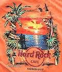 HARD ROCK CAFE HONOLULU HAWAII GUITAR DRUMS KEYBOARD PARROT ORANGE T