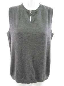 OSCAR DE LA RENTA Grey Sleeveless Shirt Top Sz M