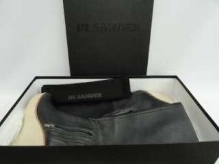 BN Jil Sander Black Leather Wedge Boots Shoes UK5 38