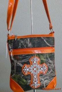 WESTERN ORANGE GREEN CAMO MOSSY OAK RHINESTONE CROSS BODY BLING SLING