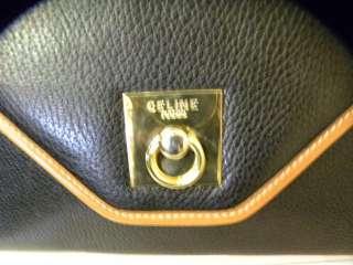 Celine Navy Pebble Leather Shoulder Bag Medium