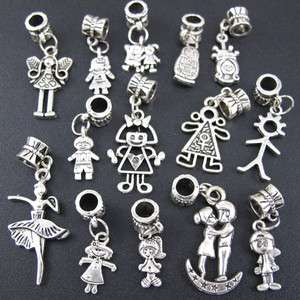Mix 100p Tibetan Silver Boy And Girl Dangle Beads Fit Charm Bracelet
