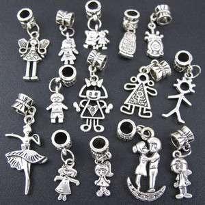 Mix 100p Tibetan Silver Boy And Girl Dangle Beads Fit Charm Bracelet