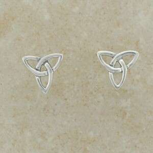 Small Cute Silver Trinity Knot Celtic Irish Stud Earrings   Made in