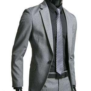 Mens Premium Slim Fit Dress Suit GREY (SZ 32/37R) 04