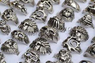 FREE NEW wholesale lots skull carved biker men silver tone rings